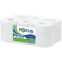 Туалетная бумага в рулонах Focus 1 слойная 200м белый система T2