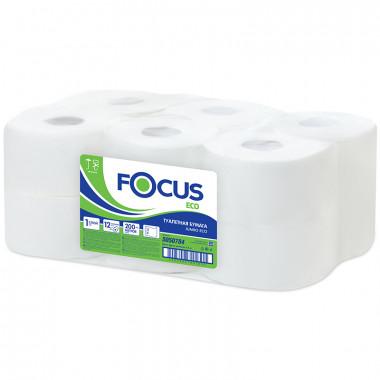 Фото Туалетная бумага в рулонах Focus 1 слойная 200м белый система T2