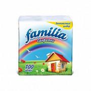 Бумажные салфетки FAMILIA Белые 1 слой 24x23 см 100шт
