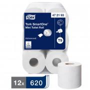 Туалетная бумага Tork SmartOne в мини рулонах, 2 слойная, 620 л 1/12