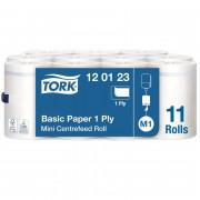 Полотенца бумажные в рулонах с центральной вытяжкой Tork Mini Roll Advanced M1 1-слойные 11 рулонов по 120 метров