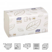 Полотенца бумажные листовые Tork Premium H3 ZZ-сложения 2-слойные 15 пачек по 200 листов