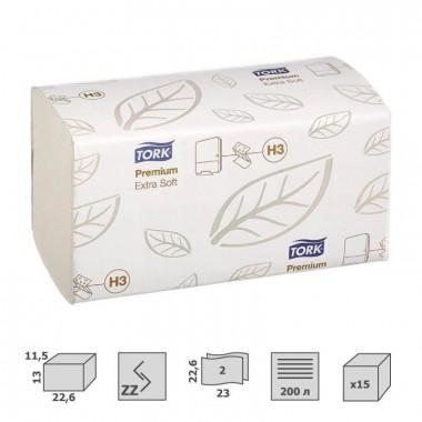 Фото Полотенца бумажные листовые Tork Premium H3 ZZ-сложения 2-слойные 15 пачек по 200 листов