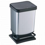 Ведро для мусора 20л PASO с педалью, квадрат, сереб. металик