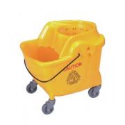 Ведро уборочное на колесах 36 л желтое, встроенная решетка, отжим кентукки, 53х44х55 см / Артикул AF08062