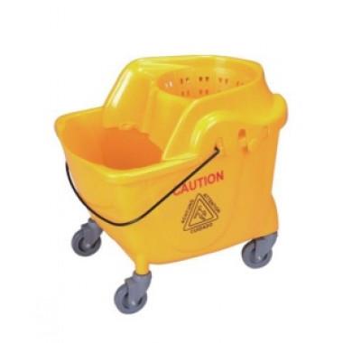 Фото Ведро уборочное на колесах 36 л желтое, встроенная решетка, отжим кентукки, 53х44х55 см / Артикул AF08062