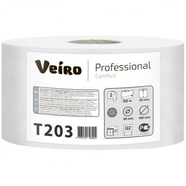 Фото Туалетная бумага Veiro Professional Comfort в средних рулонах 2 слойная, 200 м 1/12
