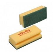 Губка для мытья посуды Vileda Professional Средняя жесткость 150х70х45 мм 10 штук в упаковке желтые/зеленый абразив