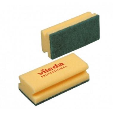 Фото Губка для мытья посуды Vileda Professional Средняя жесткость 150х70х45 мм 10 штук в упаковке желтые/зеленый абразив