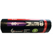 Мешки для мусора 60л Lux GLIONNI черные в рулоне 30 штук