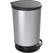 Ведро для мусора 30л PASO с педалью, круг, сереб. металик