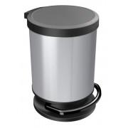 Ведро для мусора 20 л PASO с педалью круг. серебро мет.