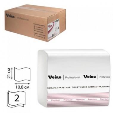 Фото Туалетная бумага листовая Veiro Professional 2 слойная 250 шт белый система T3